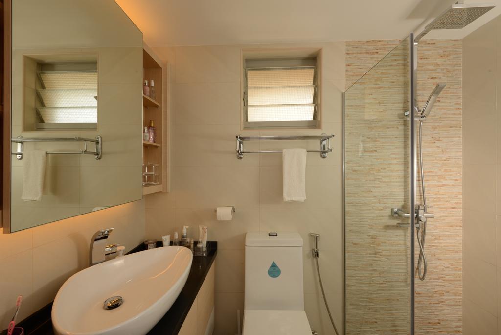 Modern, HDB, Bathroom, Punggol Central, Interior Designer, Eight Design, Bathroom Vanity, Vessel Sink, Bathroom Sink, Bathroom Cabinet, Concealed Lighting, Toilet Bowl, Water Closet, Shower Screen, Shower Area, Bathroom Tiles, , Stone Tiles
