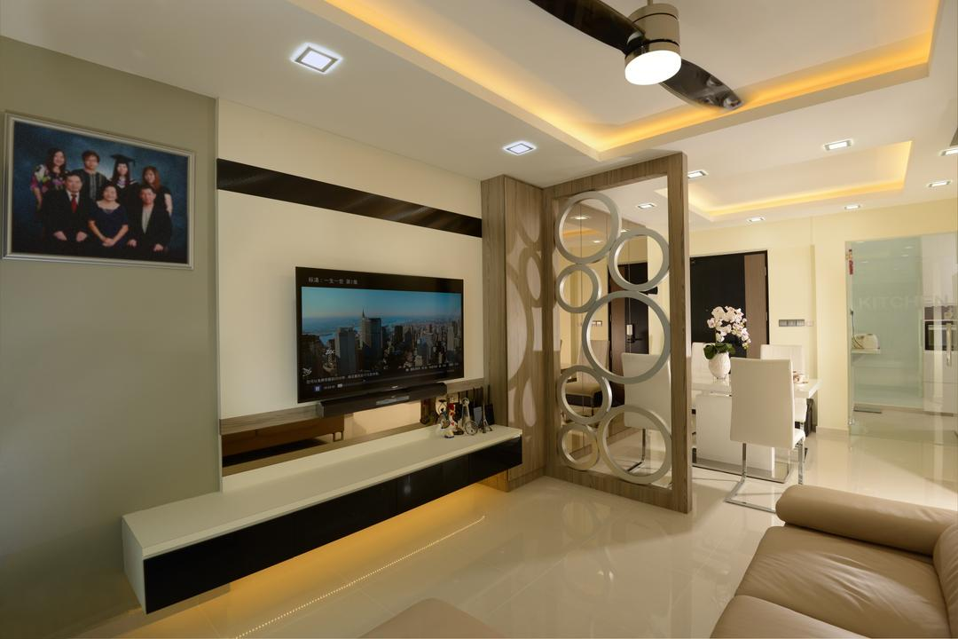 Punggol Central, Eight Design, Modern, Living Room, HDB, Partition, Ceiling Fan With Lamp, Tv Console, Floating Console, Photo Frame, Wall Frame, Cove Lighting