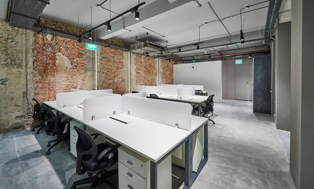 Neil Road, Commercial, Interior Designer, R+R Design Studio, Industrial, Workstations, Industrial Office, Spacious And Simple, Tracklights, Exit Sign