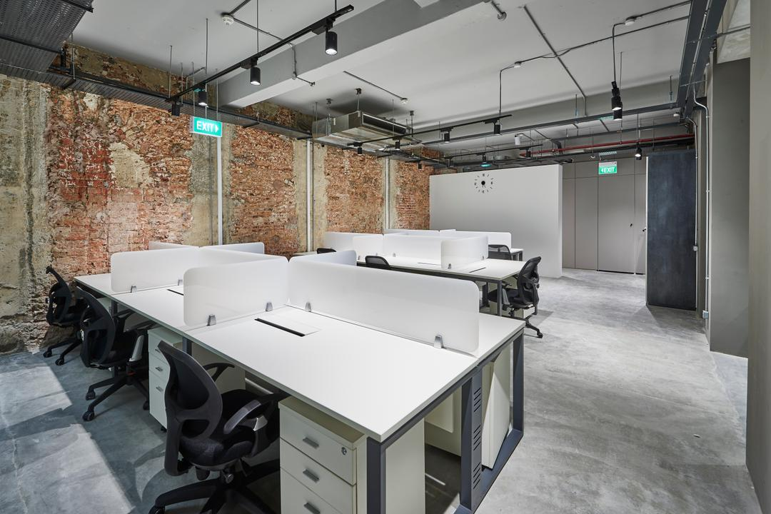 Neil Road, R+R Design Studio, Industrial, Commercial, Workstations, Industrial Office, Spacious And Simple, Tracklights, Exit Sign