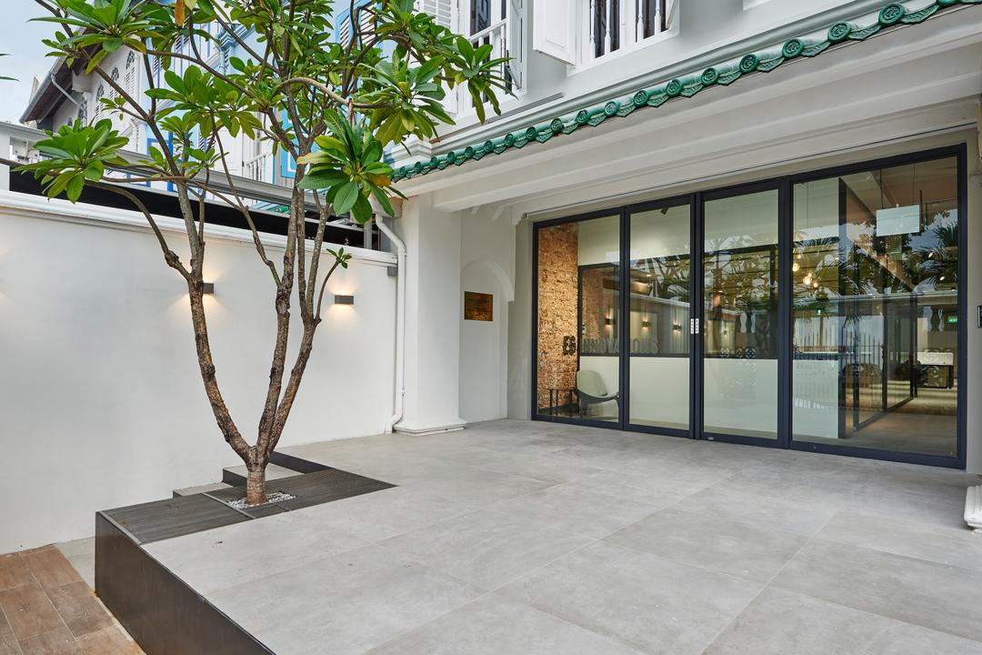 Neil Road, R+R Design Studio, Industrial, Commercial, Wall Lights, Office Main Entrance, Spacious, Big Area, Grey Tiles, Raised Platform, Sliding Glass Door, Roofing, Tree, Plant, Outdoor Tree, Green Roofing, Car Pouch Area, Bonsai, Flora, Jar, Potted Plant, Pottery, Vase, Flooring, Door, Sliding Door, Patio