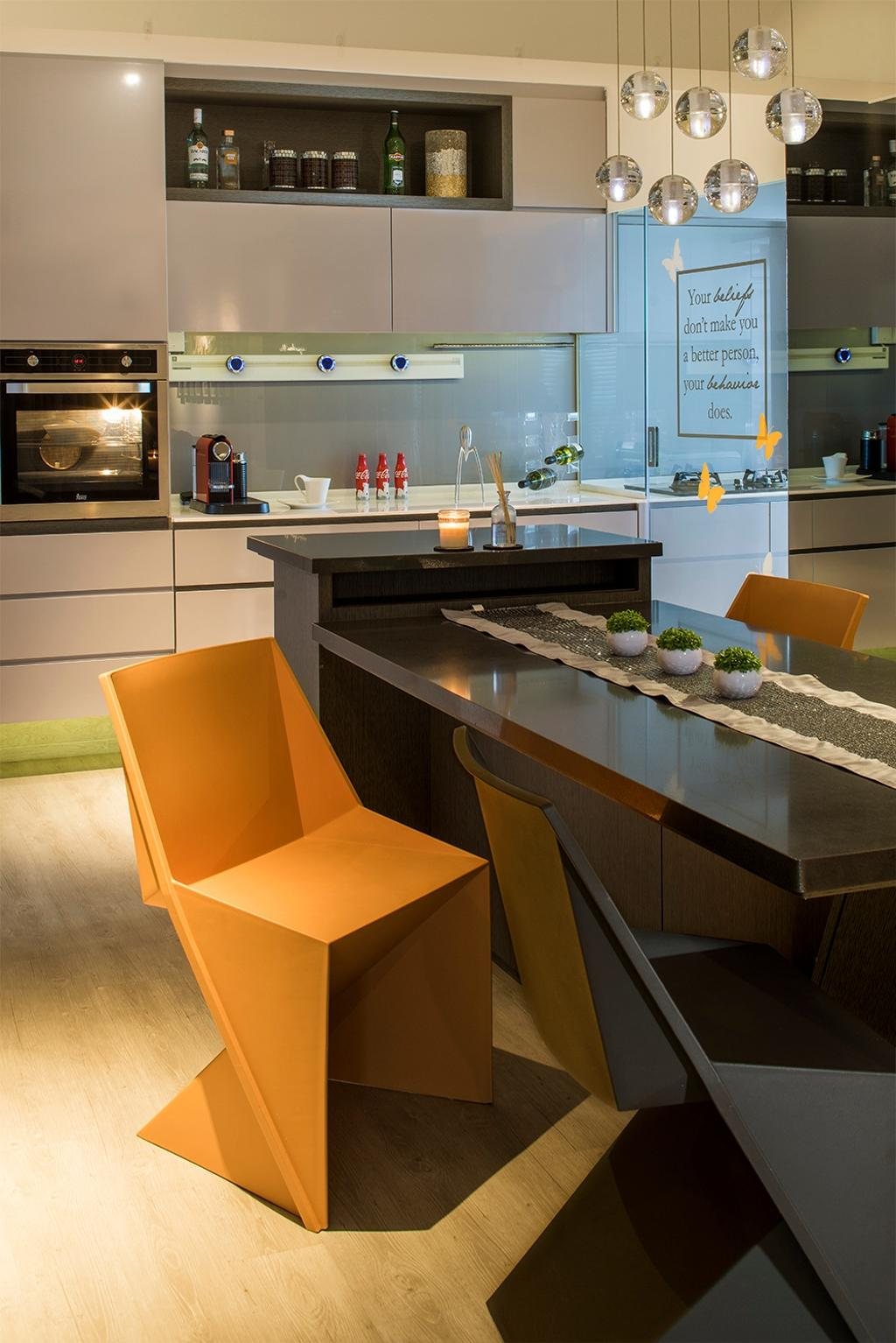 Scandinavian, HDB, Dining Room, Yishun, Interior Designer, R+R Design Studio, Designer Chair, Yellow Designer Chair, Unique Dining Table, Odd Shape Table, Odd Shape Chair, Appliance, Electrical Device, Microwave, Oven, Dining Table, Furniture, Table