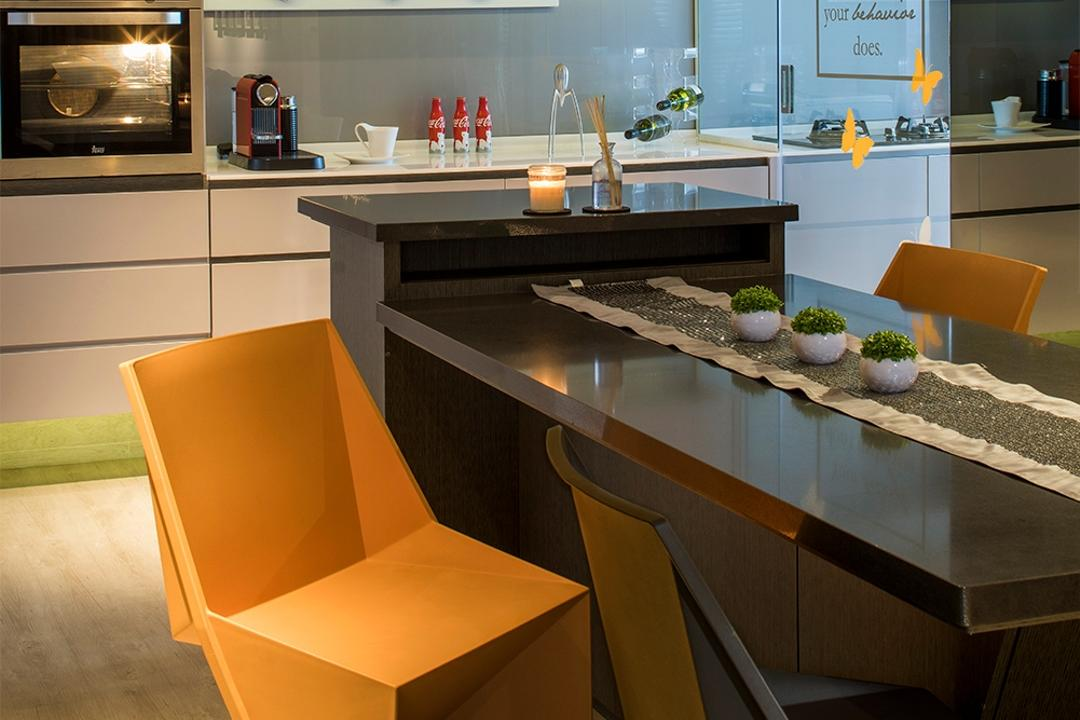 Yishun, R+R Design Studio, Scandinavian, Dining Room, HDB, Designer Chair, Yellow Designer Chair, Unique Dining Table, Odd Shape Table, Odd Shape Chair, Appliance, Electrical Device, Microwave, Oven, Dining Table, Furniture, Table