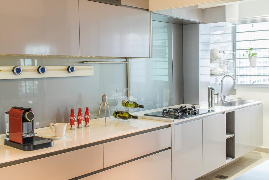 Scandinavian, HDB, Kitchen, Yishun, Interior Designer, R+R Design Studio, White, Bright And Clean, White Kitchewn Cabinets, Kitchen Cabinets, Kitchen Drawers, Kitchen Glass, Splashback, Glass Splashback, Indoors, Interior Design, Room