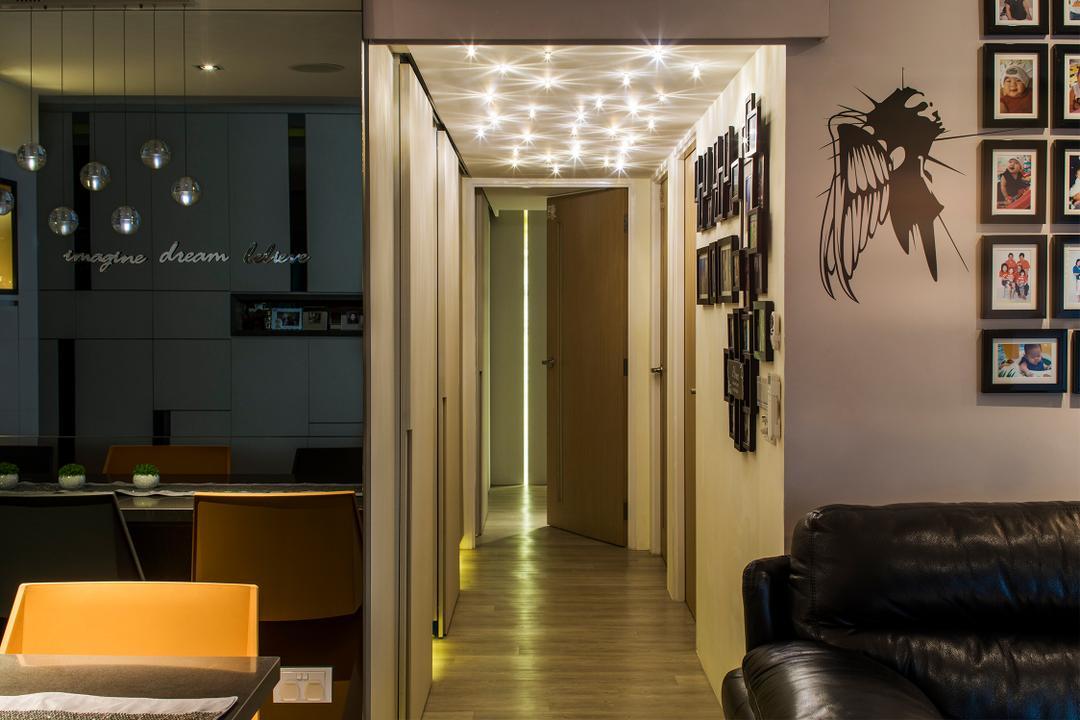 Yishun, R+R Design Studio, Scandinavian, Living Room, HDB, Led Lights, Passage Lights, Passage Way Lights, Corridor Lights, Wall Sticker, Wall Art, Unique Passage Lights, Unique Lights, Lighting, Chair, Furniture, Couch