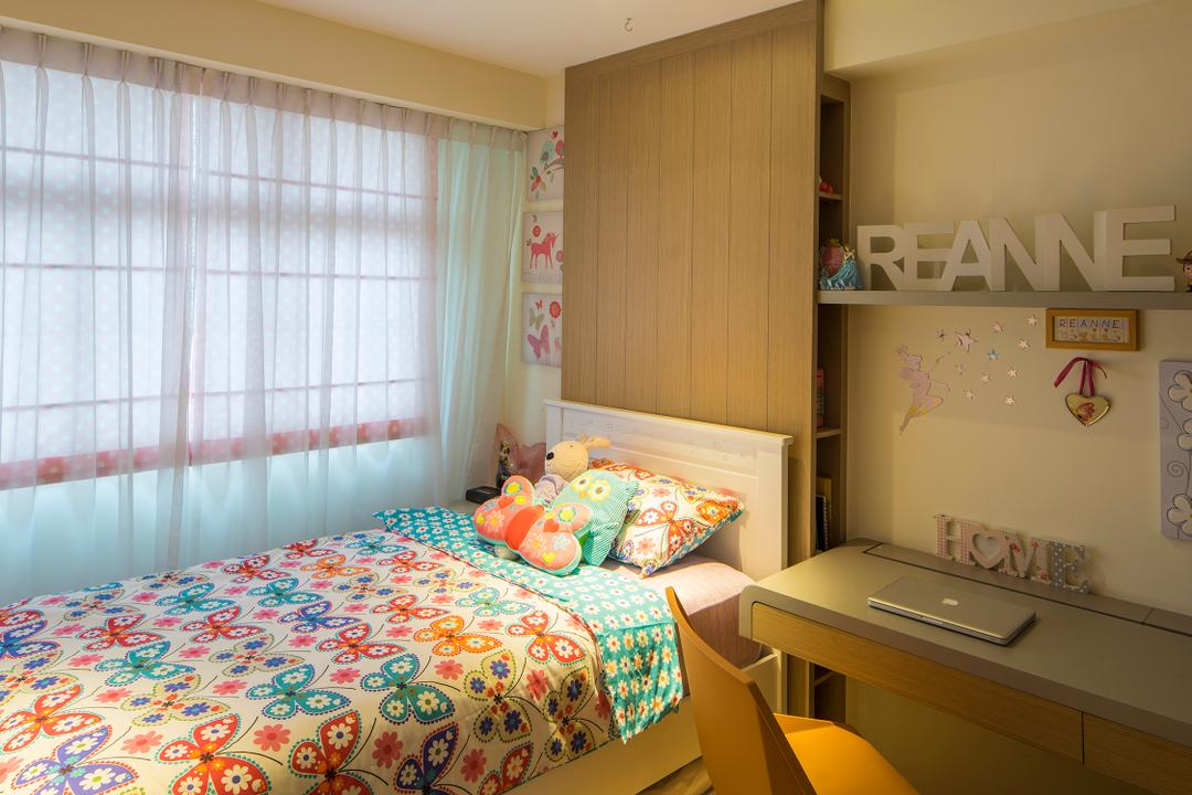 Yishun, R+R Design Studio, Scandinavian, Bedroom, HDB, Children Room, Kids Room, Children Bedsheet, Study Desk, Study Chair, Yellow Study Chair, Floating Desk, Children Quilt, Kids Besheet, Kids Pillow, Plush Toy, Thin Curtain, Light Weight Curtains, Day Curtains, Children Curtains, Sink, Bed, Furniture