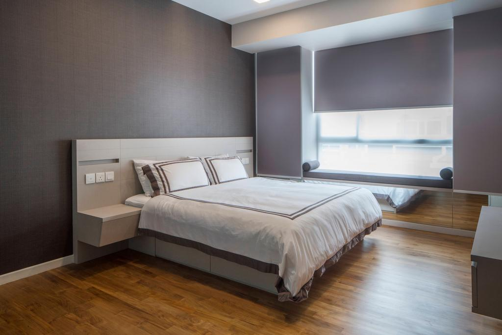 Contemporary, Landed, Bedroom, Pavillion View, Interior Designer, R+R Design Studio, Bedroom Design, Bedroom Concept, Bedroom Idea, Spacious Bedroom, Simple And Functional, Parquet Floor, Bed Frame, Customised Bed Frame, Head Board, Wooden Headboard, Bed, Furniture, Indoors, Interior Design, Room