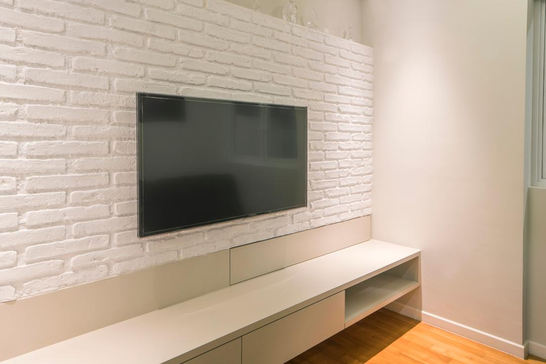 Pavillion View, R+R Design Studio, Contemporary, Living Room, Landed, Craftstone, Craftstone Feature, Craftstone Feature Wall, Mounted Tv, Floating Tv Console, Tv Console, White Floating Tv Console, Fireplace, Hearth, Indoors, Interior Design