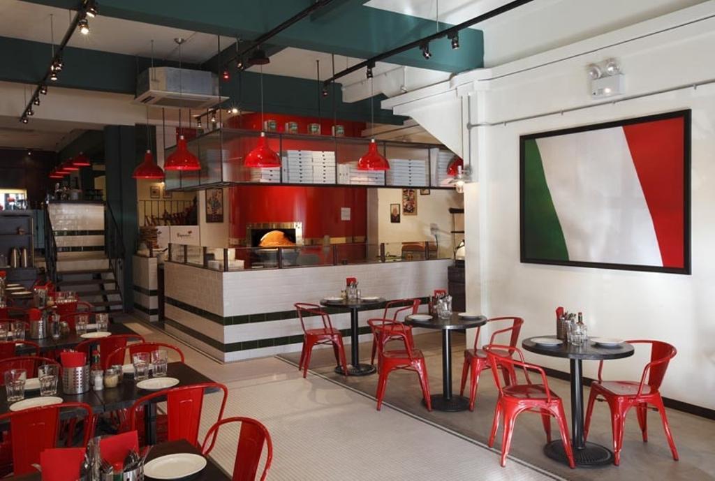 Frankel, Commercial, Interior Designer, Fineline Design, Red Industrial Chairs, Red Industrail Lights, Black Track Lights, Cafe Tables, Dining Table, Furniture, Table, Diner, Food, Meal, Restaurant