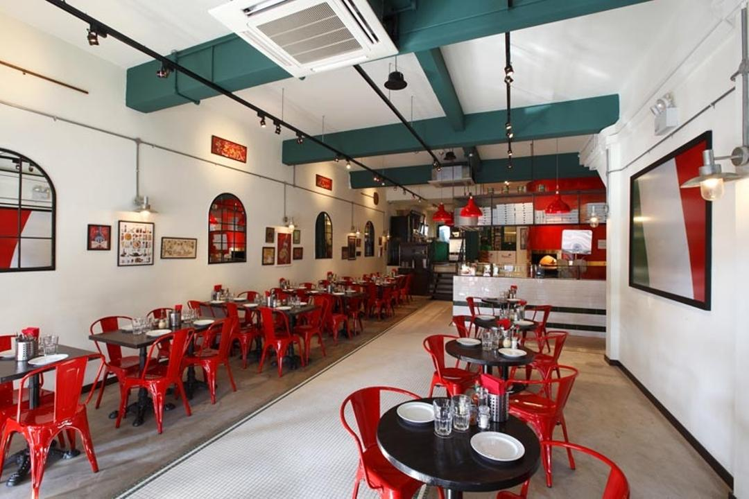 Frankel, Fineline Design, Commercial, Cafe Tables, Red Industrial Chairs, Red Industrial Lights, Black Track Lights, Diner, Food, Meal, Restaurant, Dining Table, Furniture, Table, Cafe