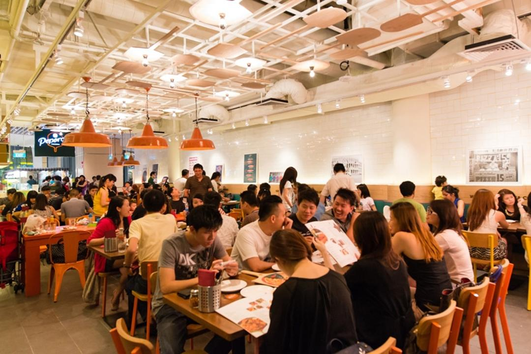 Peperoni Pizzeria (Suntec City), Fineline Design, Eclectic, Commercial, Orange Industrial Lights, Cafe Dining Tables, Cafe Dining Chairs, Human, People, Person