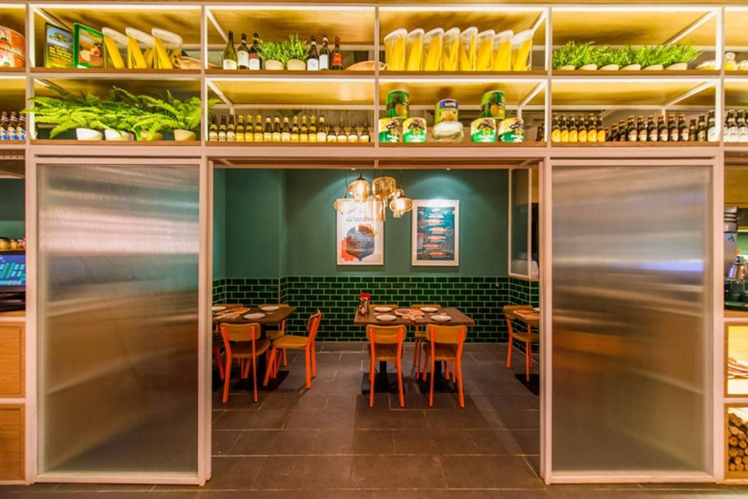 Peperoni Pizzeria (Suntec City), Fineline Design, Eclectic, Commercial, Green Wall, Green Wall Tiles, Display Shelving, Cafe Tables, Cafe Chairs, Restaurant, Dining Table, Furniture, Table, Shelf
