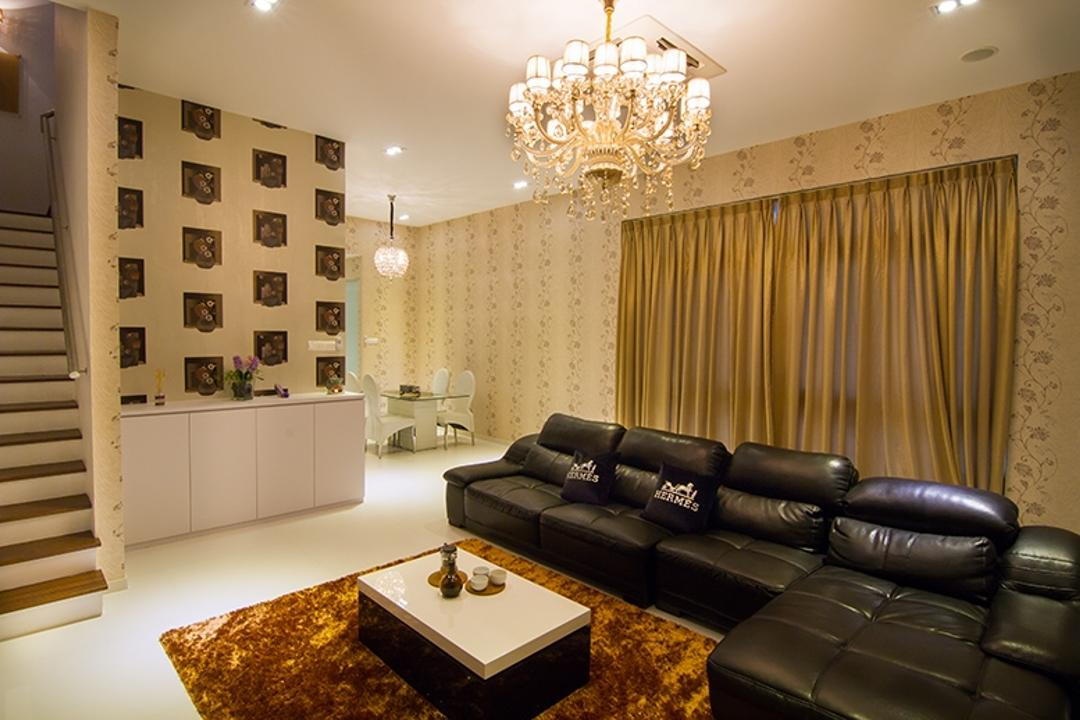 Andrew Road, NID Design Group, Traditional, Living Room, Landed, L Shaped Sofa, Leather Sofa, Black Sofa, Lame Curtains, Gold Curtains, Carpet, Wallpaper, Patterned Wallpaper, Side Cabinet, Side Board