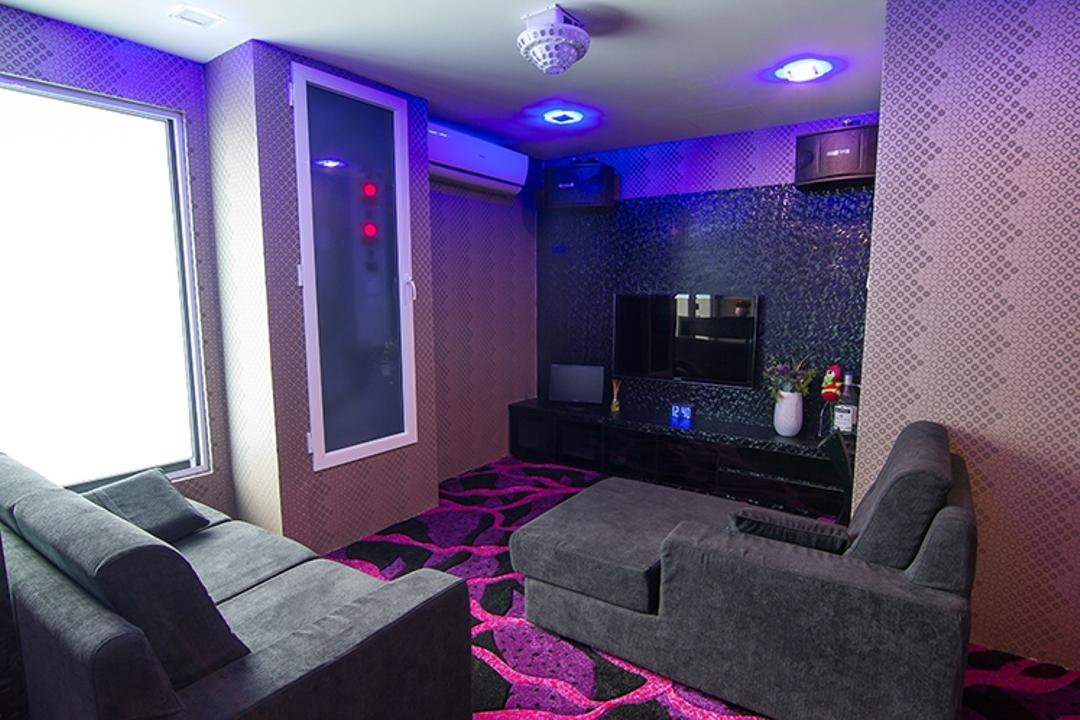 Andrew Road, NID Design Group, Traditional, Living Room, Landed, Sofa, Couch, Grey Sofa, Dark Room, Coloured Lighting, Wallpaper