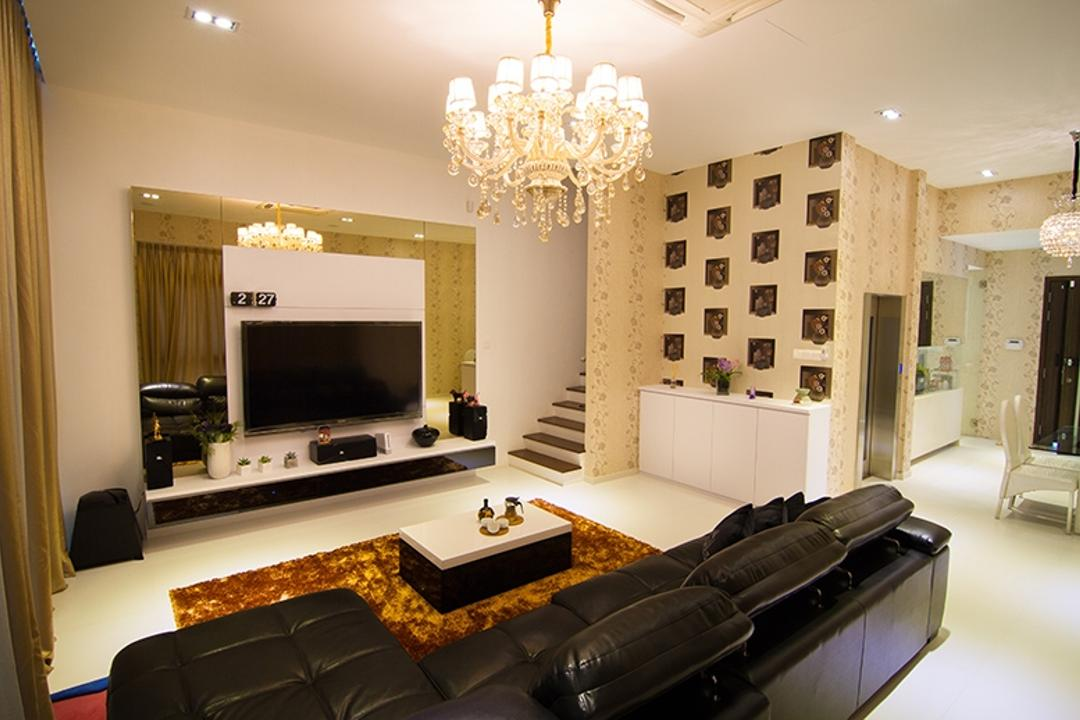 Andrew Road, NID Design Group, Traditional, Living Room, Landed, Chandelier, Posh, Luxurious, Feature Wall, Tv Console, Floating Console, Coffee Table, Gold, Gold Accents, Carpet