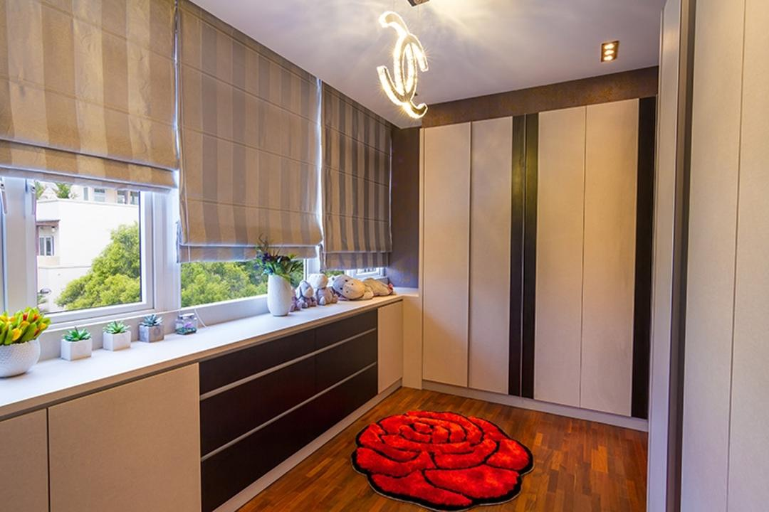 Andrew Road, NID Design Group, Traditional, Bedroom, Landed, Cabinet, Cabinetry, Accessories, Accessories Drawers, Potted Plant, Blinds, Roller Blinds, Wardrobe