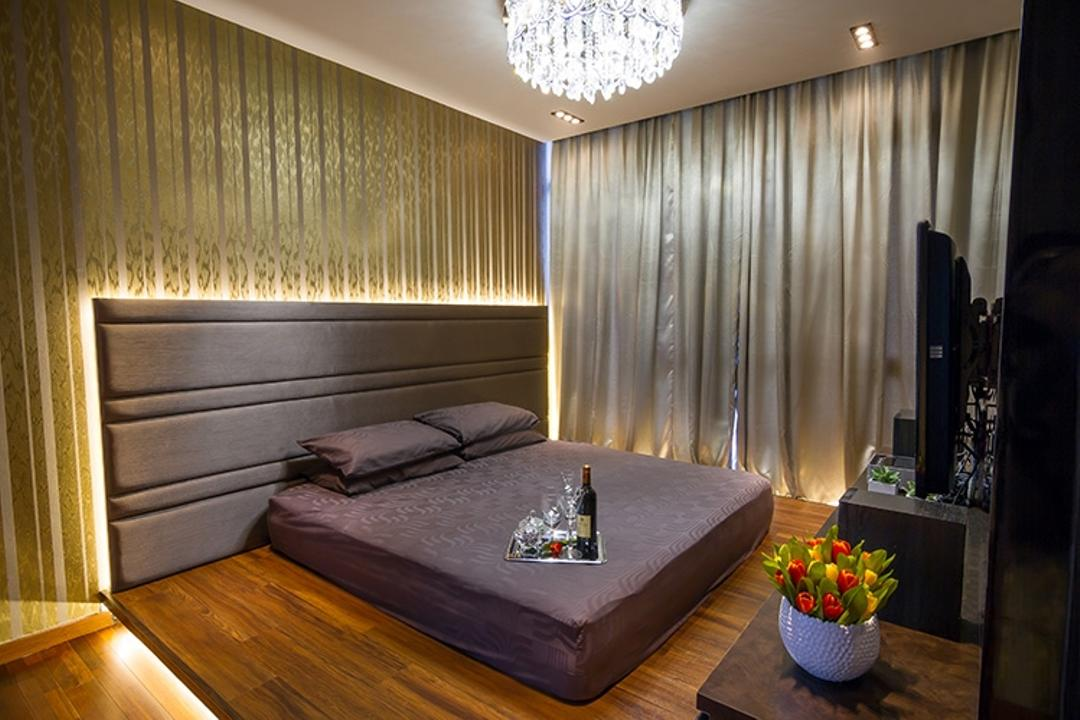 Andrew Road, NID Design Group, Traditional, Bedroom, Landed, Headboard, Gold Wall, Gold Colour, Wallpaper, Luxurious, Luxury, Posh