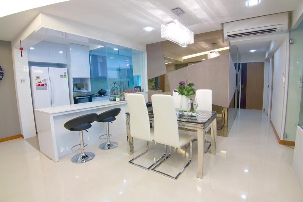 Transitional, HDB, Dining Room, Sengkang East Road, Interior Designer, NID Design Group, Dining Table, , Dining Chairs, White Chairs, Bar Stools, Kitchen Stools, Kitchen Countertop, White Countertop, White Kitchen, Kitchen Cabinet, White Refrigerator, White Cabinet