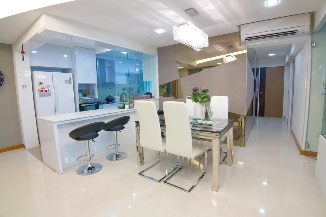 Sengkang East Road, NID Design Group, Transitional, Dining Room, HDB, Dining Table, , Dining Chairs, White Chairs, Bar Stools, Kitchen Stools, Kitchen Countertop, White Countertop, White Kitchen, Kitchen Cabinet, White Refrigerator, White Cabinet