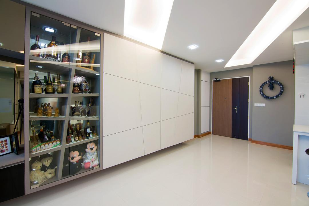 Sengkang East Road, NID Design Group, Transitional, Living Room, HDB, Display Cabinet, Collectibles, Collection, Figurines, Toys, Liquor, Liquor Collection, Door