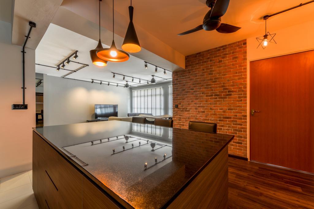 Industrial, HDB, Kitchen, Keat Hong Axis, Interior Designer, Voila, Industrial Style Lamp, Black Countertop, Brick Wall, Door, Dining Room, Indoors, Interior Design, Room
