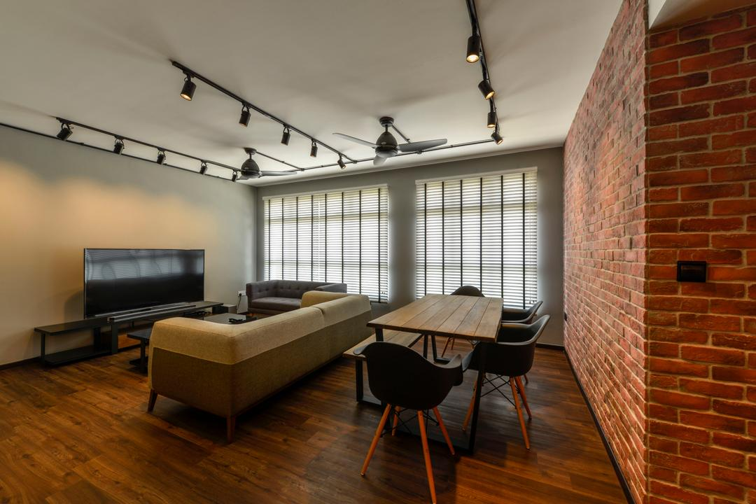 Keat Hong Axis, Voila, Industrial, Living Room, HDB, Dining Table, , Eames Chairs, Dsw Chair, Rustic, Brick Wall, Red Brick Wall, Track Lighting, Woody, Hardwood, Wood, Building, Housing, Indoors, Loft, Furniture, Table, Chair, Brick