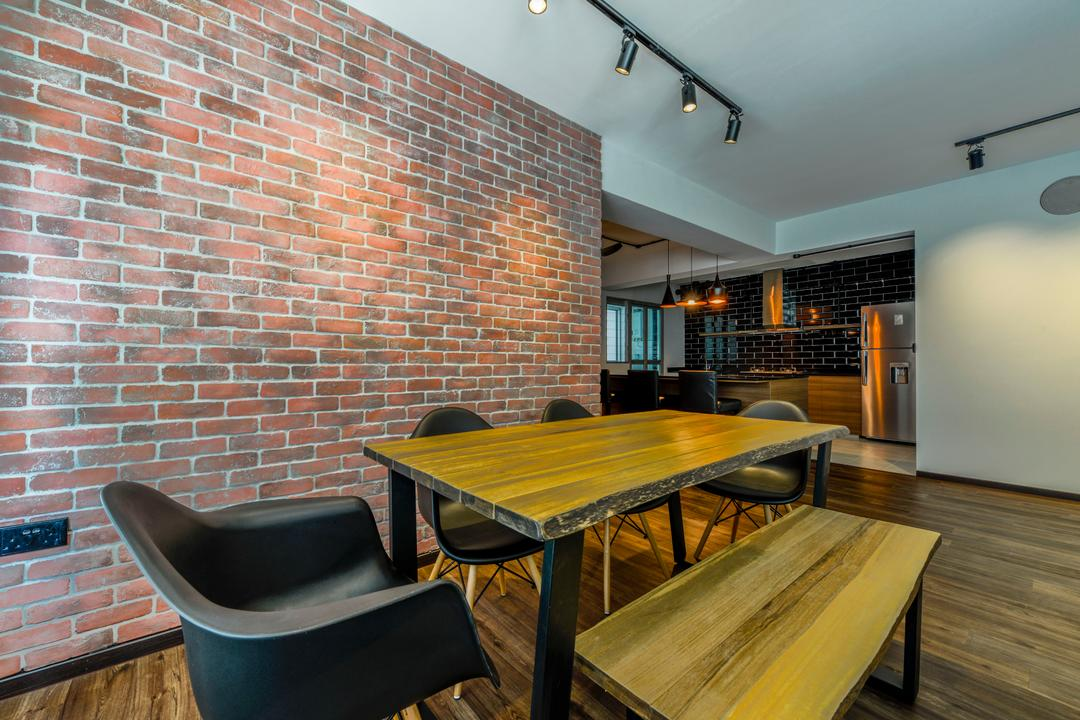 Keat Hong Axis, Voila, Industrial, Dining Room, HDB, Chair, Black Chair, Wooden Bench, Bench, Furniture, Dining Table, Table