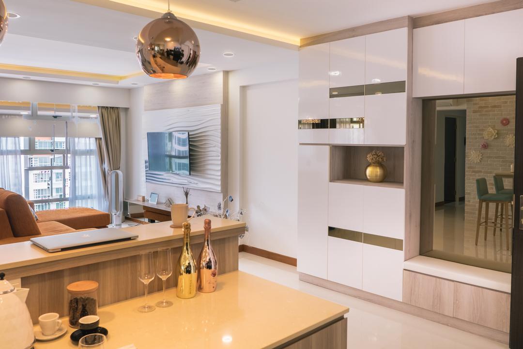 Punggol Drive (Block 665A), Urban Habitat Design, Scandinavian, Living Room, HDB, Wall Mounted Tv, Cabinet, Cabinetry, , Shelving, White, Bench, Bench Cabinet, Indoors, Interior Design