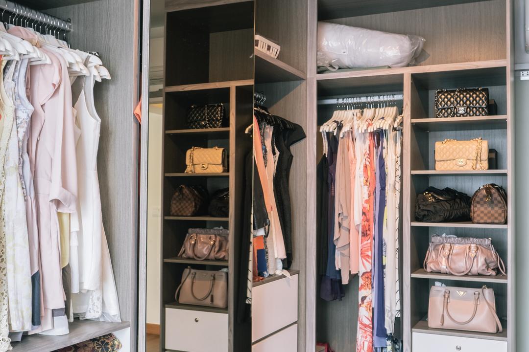Punggol Drive (Block 665A), Urban Habitat Design, Scandinavian, Bedroom, HDB, Wardrobe, Clothes Rack, Handbags, Bag Storage, Closet, Clothing, Footwear, Shoe