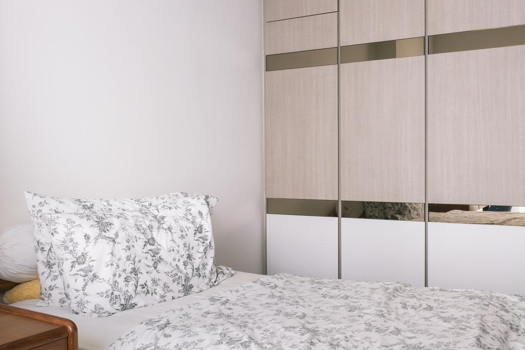 Punggol Drive (Block 665A), Urban Habitat Design, Scandinavian, Bedroom, HDB, Floral, Floral Bedsheet, Clean, Cabinet, Cabinetry, Gold Trims, Indoors, Interior Design, Room
