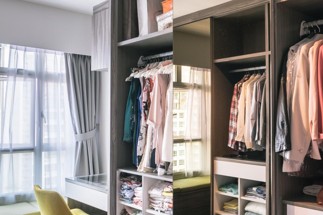 Punggol Drive (Block 665A), Urban Habitat Design, Scandinavian, Bedroom, HDB, Wardrobe, Storage Ideas, Storage, Clothes, Organization, Organized, Storage Space, Apparel, Clothing, Closet, Furniture