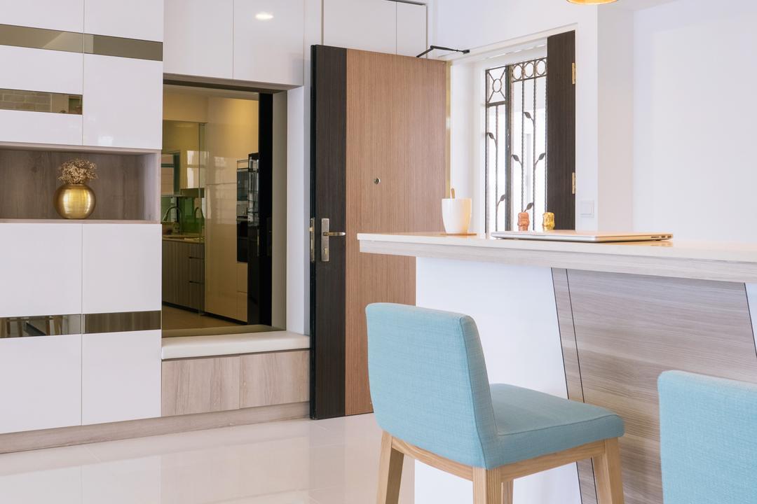 Punggol Drive (Block 665A), Urban Habitat Design, Scandinavian, Kitchen, HDB, Soft Colours, Pastel Blue, Bar Stools, High Stools, Kitchen Stools, Floor Tiles, White Floor Tiles, Clean, Chair, Furniture
