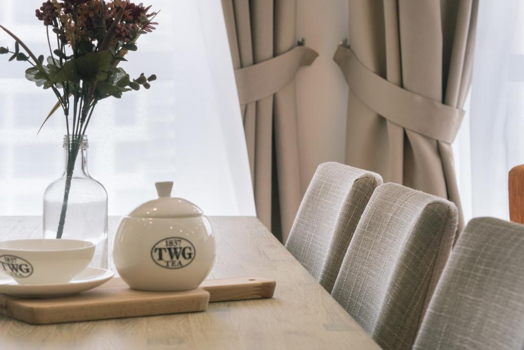 Scandinavian, HDB, Dining Room, Punggol Drive (Block 665A), Interior Designer, Urban Habitat Design, Dining Table, Dining Chairs, Chairs, Tableware, Teapot, Tea Cup, Couch, Furniture, Art, Porcelain, Pottery, Coffee Table, Table