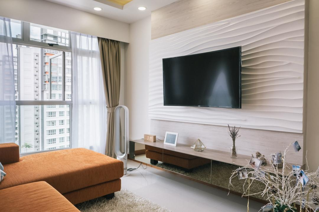Punggol Drive (Block 665A), Urban Habitat Design, Scandinavian, Living Room, HDB, Feature Wall, Tv Console, Floaring Console, Window, Bright, Natural Lighting, Indoors, Interior Design