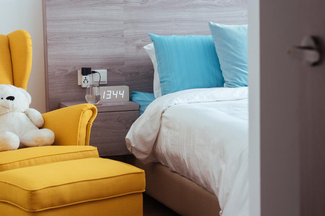 Punggol Drive (Block 665A), Urban Habitat Design, Scandinavian, Bedroom, HDB, Pastel Colours, Soft Colours, Colourful, Lounge Chair, Yellow Chair, Light Wood, Grey Wood, Clock, Tiffany Blue, Dreamy, Couch, Furniture, Teddy Bear, Toy, Cushion, Home Decor, Pillow