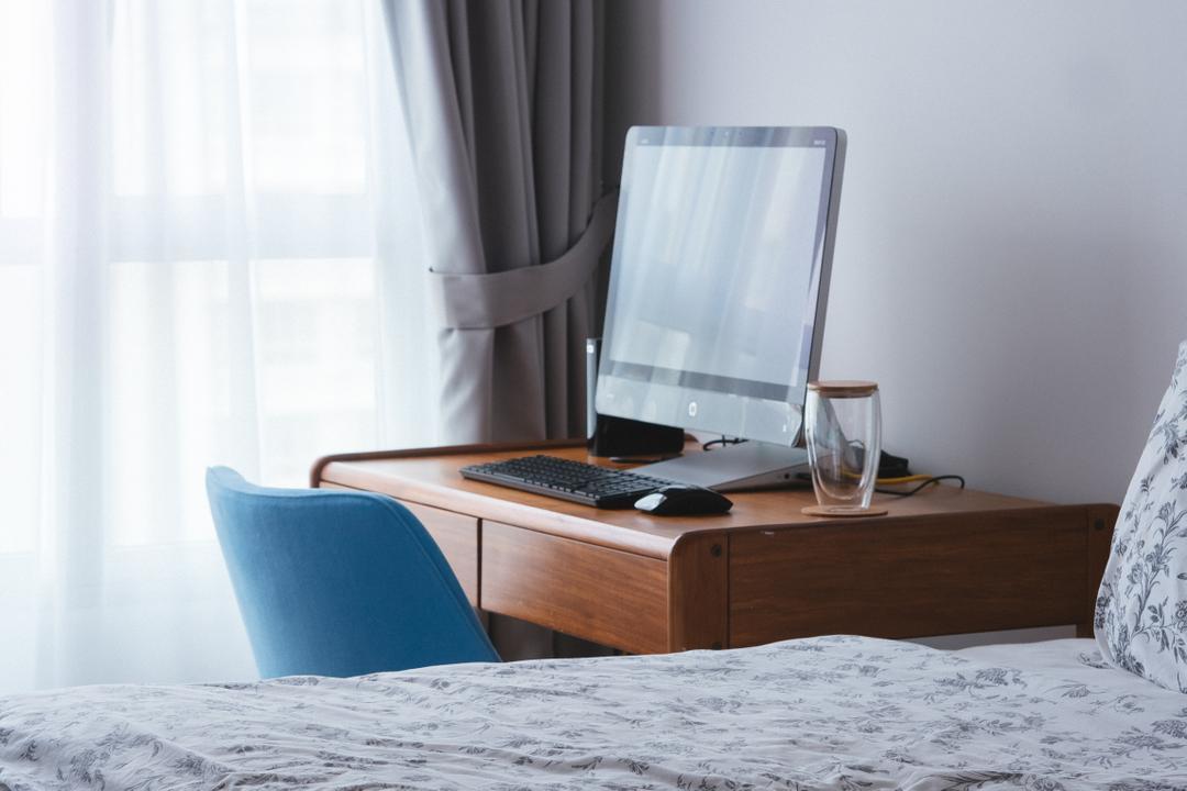 Punggol Drive (Block 665A), Urban Habitat Design, Scandinavian, Bedroom, HDB, Study Table, Chair, Blue Chair, Computer, Laptop