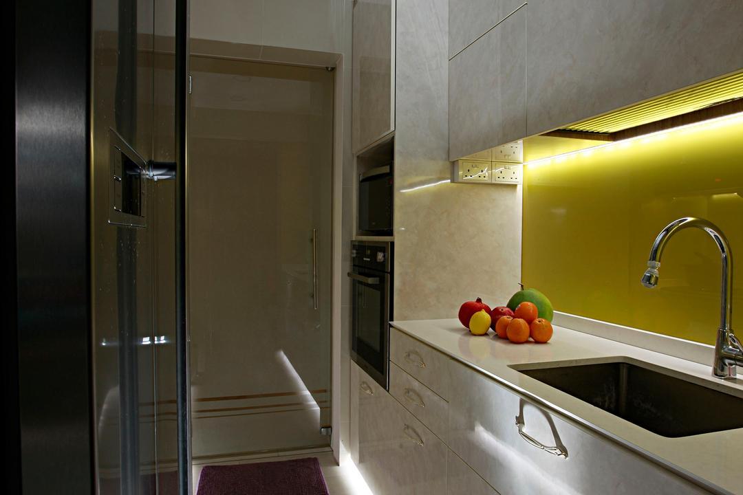 Tampines Central 8, Urban Habitat Design, Vintage, Kitchen, HDB, Kitchen Cabinet, Cabinetry, Kitchen Door, Grey Cabinet