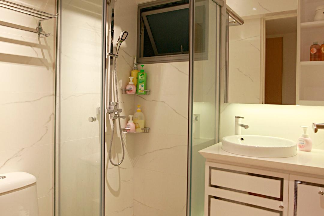 Tampines Central 8, Urban Habitat Design, Vintage, Bathroom, HDB, Bathroom Vanity, Bathroom Cabinet, Mirror, Vessel Sink, Toilet Bowl, Water Closet, Shower Screen, Towel Rack, Sink, Indoors, Interior Design, Room