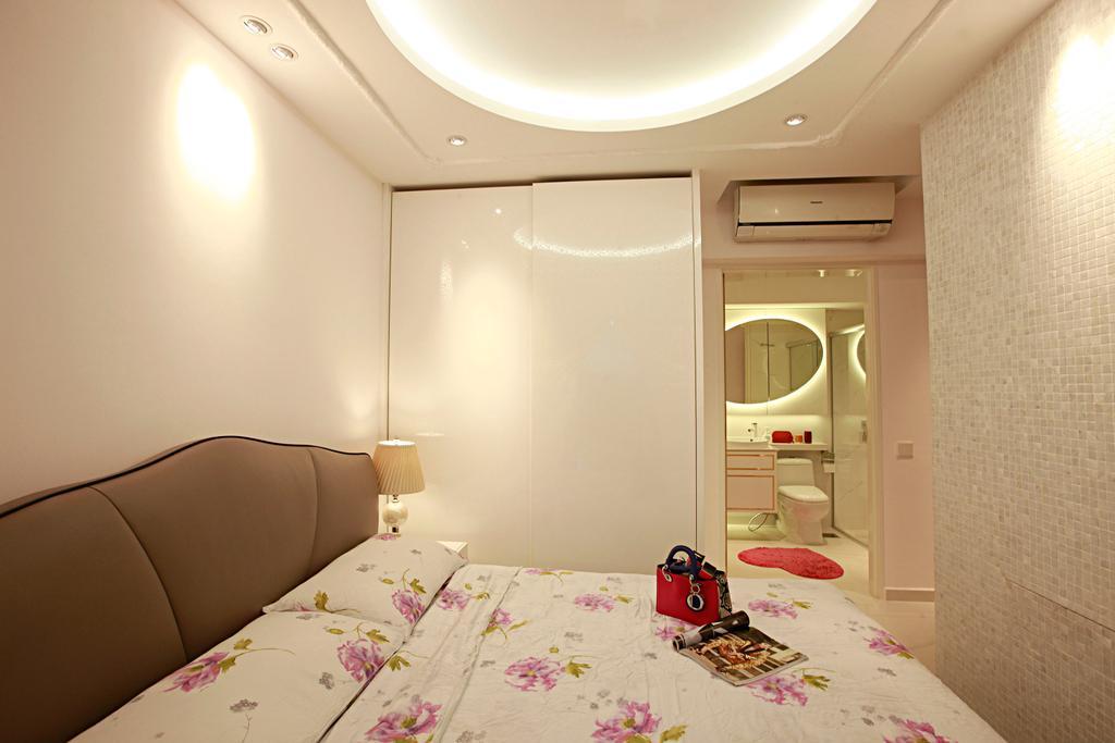 Vintage, HDB, Bedroom, Tampines Central 8, Interior Designer, Urban Habitat Design, Girly, Girls Room, Elengant, Wallpaper, Aircon, Cove Lighting