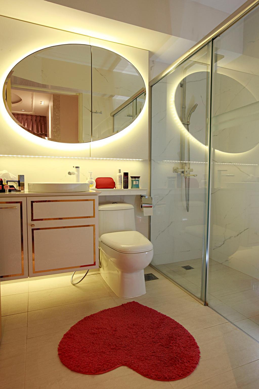 Vintage, HDB, Bathroom, Tampines Central 8, Interior Designer, Urban Habitat Design, Heart Shaped Carpet, Red Carpet, Cute Carpet, Round Mirror, Bathroom Vanity, Bathroom Sink, Vessel Sink, Concealed Lighting, Toilet Bowl, Water Closet, Toilet