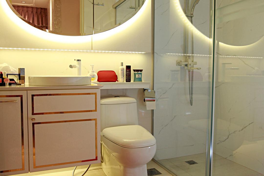 Tampines Central 8, Urban Habitat Design, Vintage, Bathroom, HDB, Heart Shaped Carpet, Red Carpet, Cute Carpet, Round Mirror, Bathroom Vanity, Bathroom Sink, Vessel Sink, Concealed Lighting, Toilet Bowl, Water Closet, Toilet