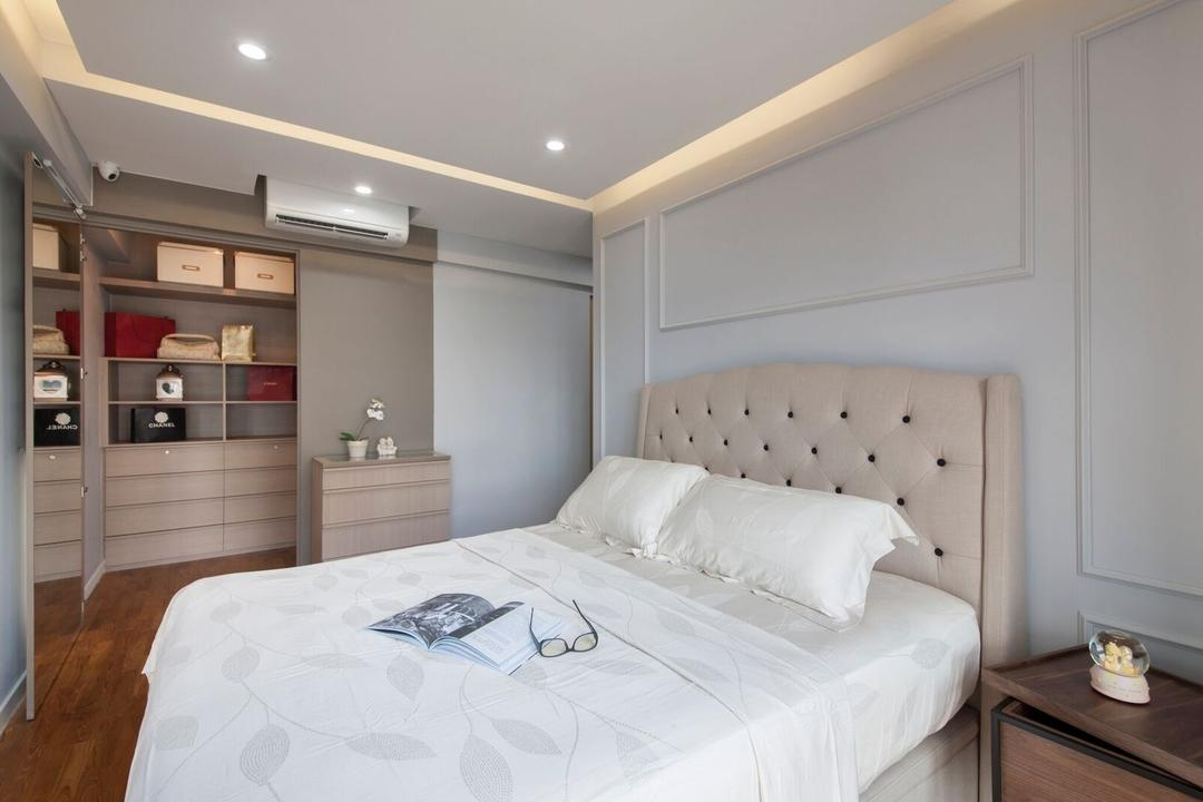 Dawson Place, Design 4 Space, Contemporary, Bedroom, HDB, Headboard, Wainscoting, Bedside Table, Bag, Bag Storage, Bag Cabinet, Bag Shelf, Display Shelf, Handbags, Aircon, Side Cabinet, Side Board, Molding, Bed, Furniture, Building, Housing, Indoors, Loft