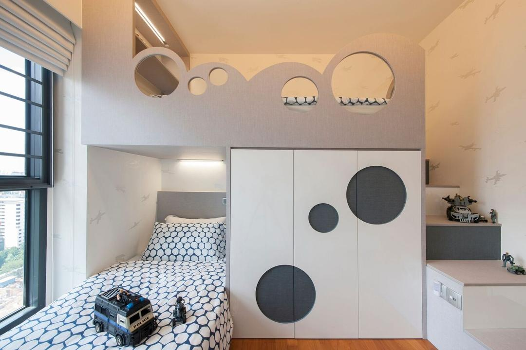 Dawson Place, Design 4 Space, Contemporary, Bedroom, HDB, Single Bed, Light Colours, Bedsheet, Prints