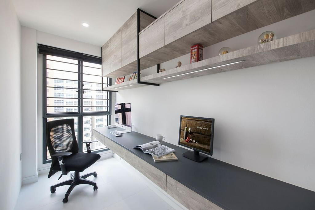Contemporary, HDB, Study, Dawson Place, Interior Designer, Design 4 Space, Study Table, Work Station, Work Desk, Computer, Office Chair, Top Cabinet, Shelf, Shelving, Light Wood, Grey Wood, Chair, Furniture, Building, Housing, Indoors, Loft
