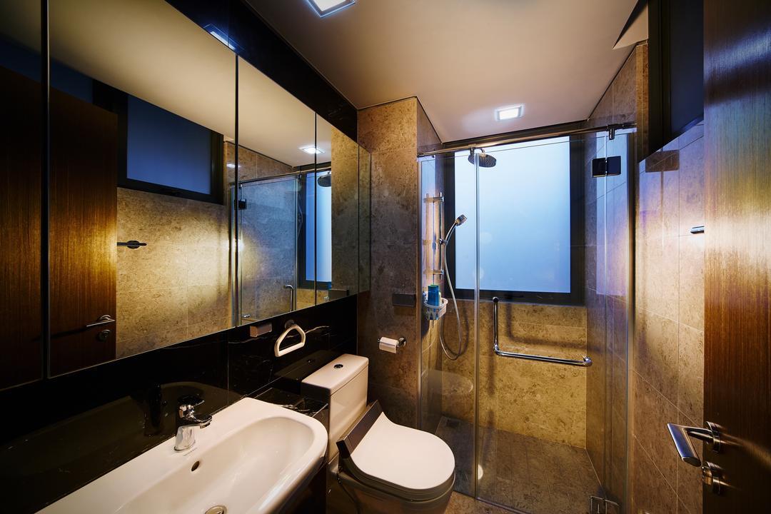 Mackenzie 88, Design 4 Space, Modern, Bathroom, Condo, Black Walls, Dark Colours, Dark Bathroom, Black Bathroom, Bathroom Sink, Water Closet, Toilet Bowl, Mirror, Shower Screen, Indoors, Interior Design, Room, Electronics, Entertainment Center, Home Theater, Elevator