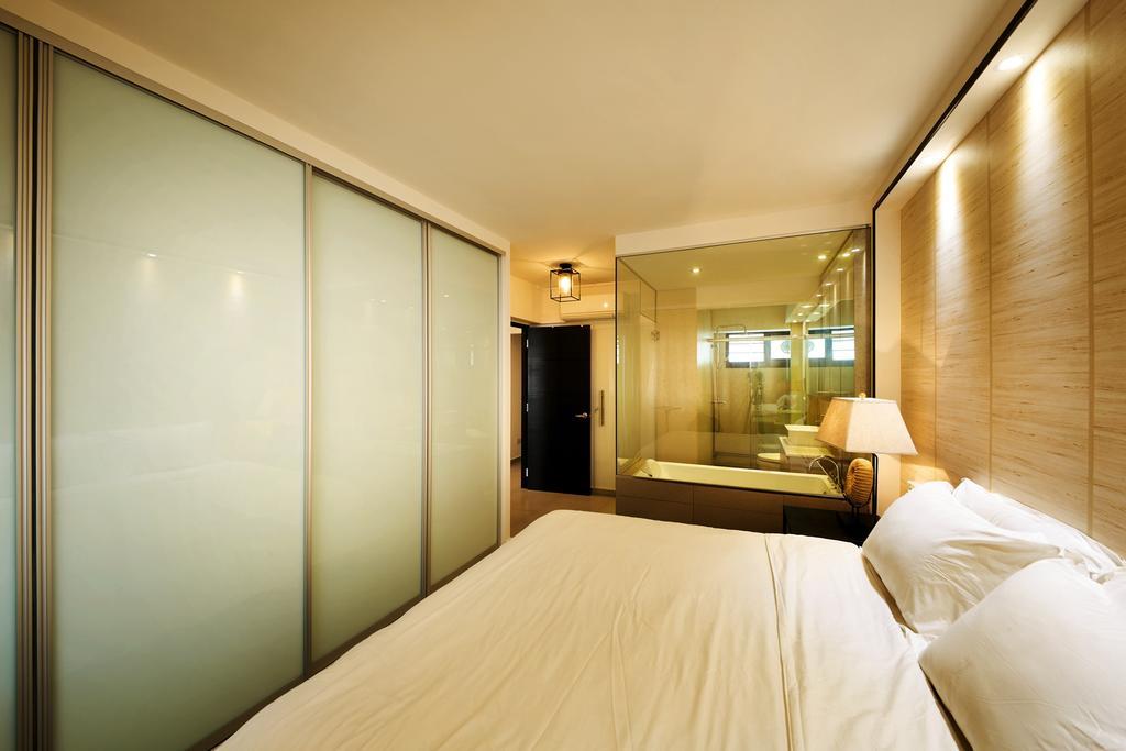 Minimalistic, HDB, Bedroom, Toh Yi Drive, Interior Designer, Design 4 Space, Contemporary, White Bed, Wardrobe, Wood Grain, Woody, Zen, Wallpaper, Indoors, Room, Interior Design, Bed, Furniture