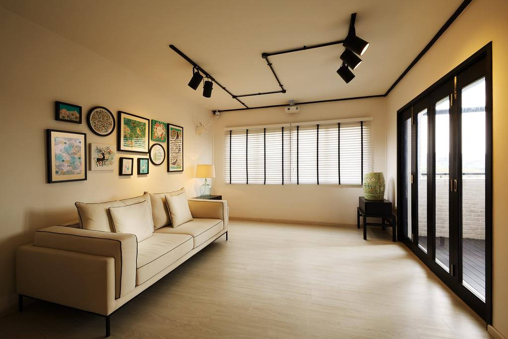 Minimalistic, HDB, Living Room, Toh Yi Drive, Interior Designer, Design 4 Space, Contemporary, Door With Black Trims, Track Lighting, Sofa, Fabric Sofa, Cream Colour Sofa, Gallery Wall, Wall Frames, Wall Decor, Home Decor, , Photo Frames, Blinds, Venetian Blinds, Neutral Colours, Building, Housing, Indoors, Loft, Couch, Furniture, Art, Art Gallery, Interior Design