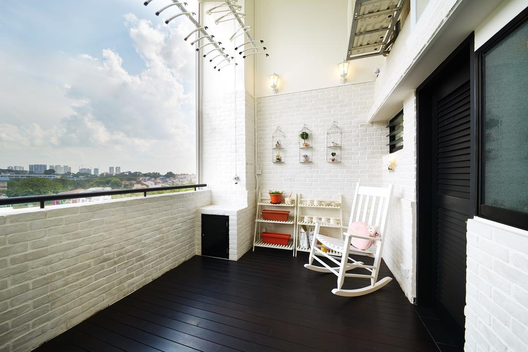Toh Yi Drive, Design 4 Space, Minimalistic, Contemporary, Balcony, HDB, White Brick Wall, Brick Wall, White Furniture, Plant Rack, Flower Rack, Chair, Rocking Chair, Potted Plant, Furniture, Indoors, Interior Design