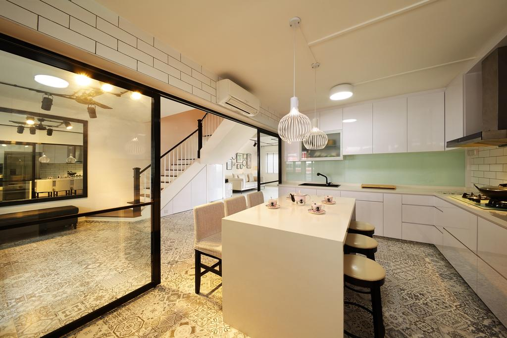 Minimalistic, HDB, Kitchen, Toh Yi Drive, Interior Designer, Design 4 Space, Contemporary, Kitchen Island, Kitchen Cabinet, Cabinetry, White Cabinet, Pendant Lamp, White Pendant Lamp, Hanging Lamp, Stools, Bar Stools, Patterned Tiles, Floor Tiles, Door With Black Trims, Hacked Wall, Indoors, Interior Design, Dining Room, Room
