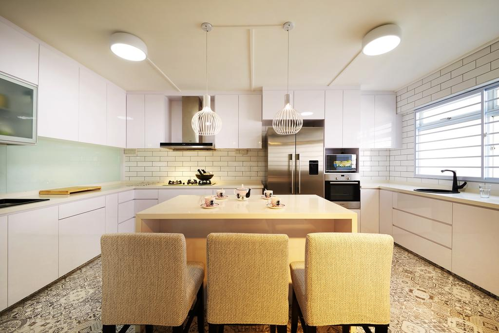Minimalistic, HDB, Kitchen, Toh Yi Drive, Interior Designer, Design 4 Space, Contemporary, White Cabinet, White Lighting, Subway Tiles, Floor Tiles, Dining Chair, Chairs, Refrigerator, Exhaust Hood, Chair, Furniture, Dining Room, Indoors, Interior Design, Room